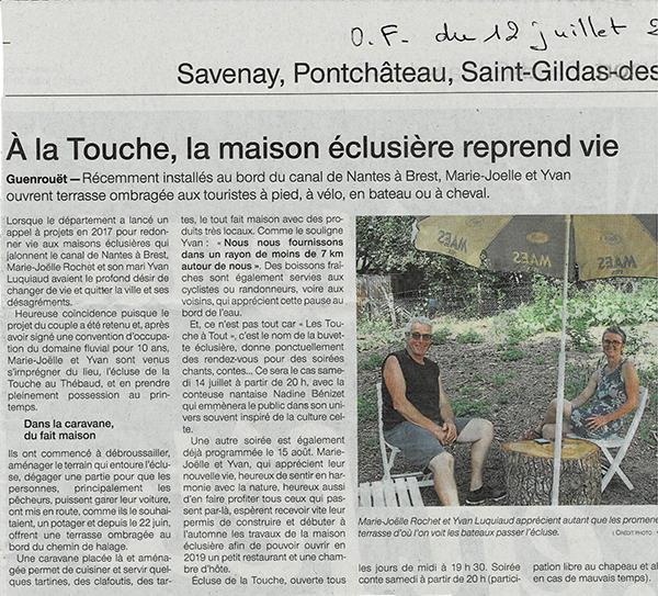 Ouest France, article du 12 juillet 2018